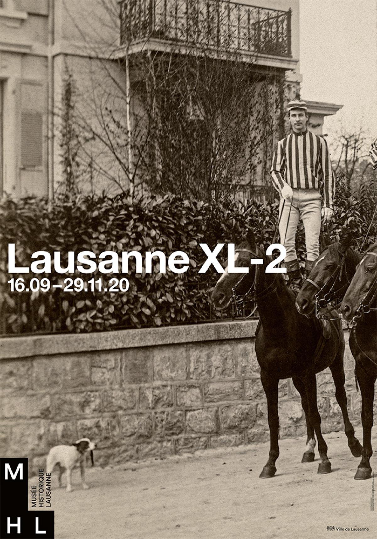 Cavaliers à l'avenue Eglantine, Lausanne, années 1890, Francis de Jongh, épreuve photographique sur papier albuminé (détail) Musée Historique Lausanne