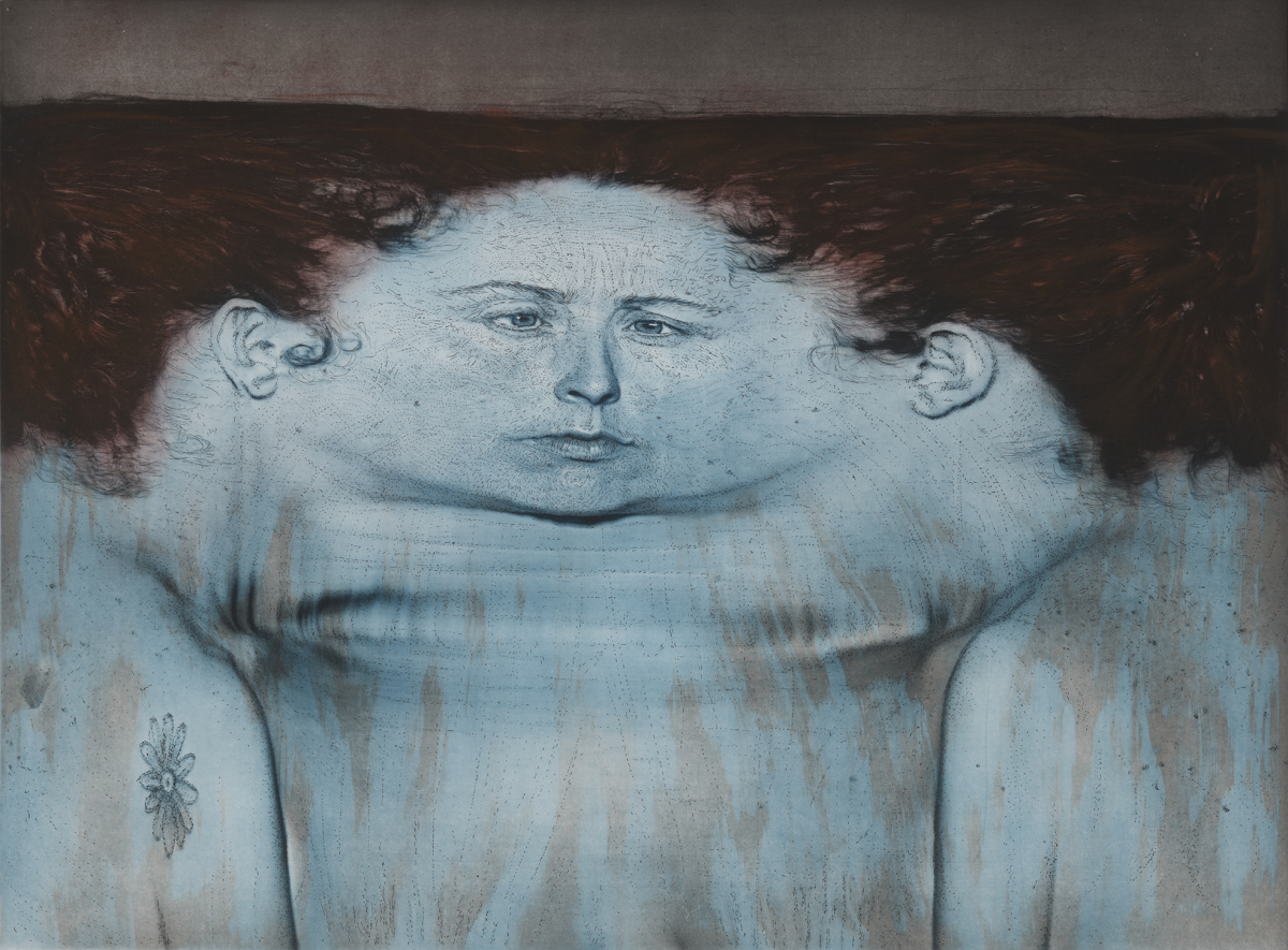 "Kiki Smith, ""My Blue Lake"", 1995. Photogravure et lithographie en 3 couleurs sur papier Arches En Tout Cas, 110,5 × 139,1 cm. Impression et edition: Universal Limited Art Editions, Bay Shore, New York. Courtesy Universal Limited Art Editions. Photo: Courtesy Universal Limited Art Editions, Bay Shore, New York"