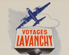 Voyages Lavanchy (détail), lithographie de Roger Marsens Lausanne, 1947 F.P.C.N. MHL