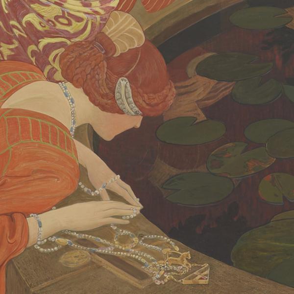 Ernest Biéler, «L'eau mystérieuse» (1911), tempera sur papier marouflé sur toile, 146,3 x 376,4 cm. Dépôt de la Fondation Gottfried Keller, Office fédéral de la culture, Berne, 1913 © Musée cantonal des Beaux-Arts de Lausanne