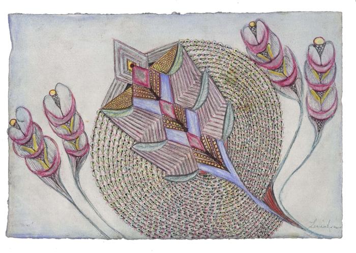sans titre Anna Zemànkova sans titre, s.d.,  stylo à bille, crayon de couleur, encre, peinture et gaufrage sur papier 20 x 30 cm Arnaud Conne, AN - Ville de Lausanne Collection de l'Art Brut, Lausanne
