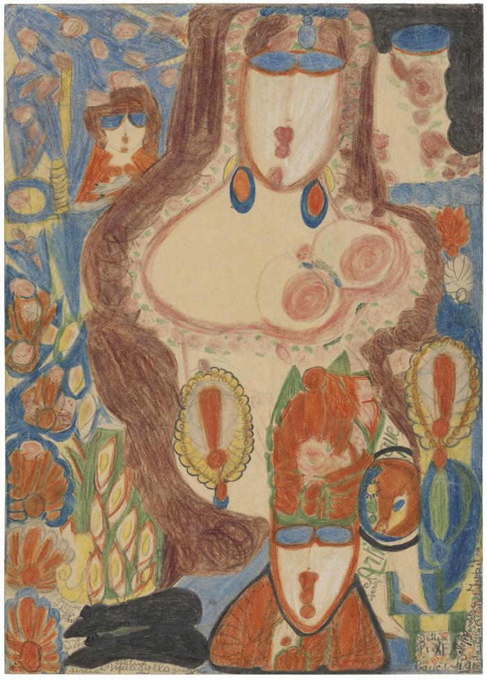 Aloïse, nouvelles acquisitions Aloïse Corbaz  Sédia Pie XI (recto), entre 1941 et 1951 Crayon de couleur sur papier d'emballage, 59.5 x 42.5 cm Collection de l'Art Brut, Lausanne. Donation en souvenir du Docteur Pierre Bourquin Alïse Corbaz Collection de l'Art Brut Lausanne
