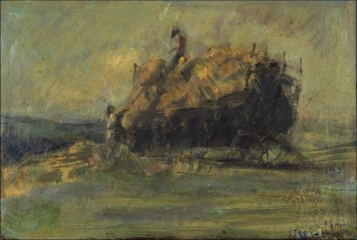 Fenaisons, 2002, huile sur bois, 39 x 59 cm, collection particulière