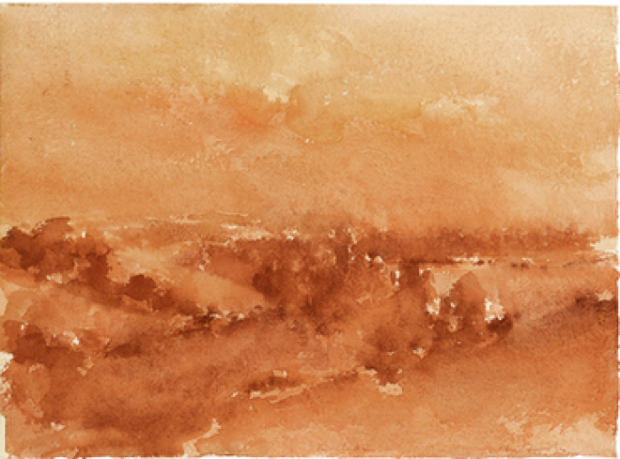 Edmond Quinche, Ballymacart (vallée en Irlande), lavis de sanguine (27,7 x 37,7 cm), 1978-85