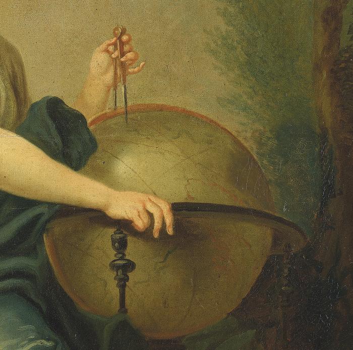"""Philippe Mercier, """"Femme à la mappemonde"""" (détail), vers 1760. Philippe Mercier, """"Femme à la mappemonde"""" (détail), vers 1760. Philippe Mercier Musée cantonal des Beaux-Arts de Lausanne"""