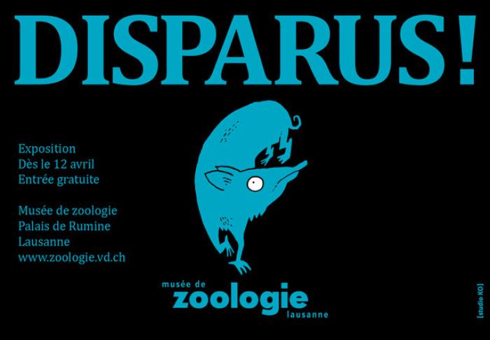 Affiche de l'expo Disparus ! Dessin du bandicoot à pied de cochon, espèce disparue. Studio KO Studio KO, Yverdon
