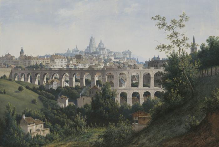 A. J.  Knip, Le Grand-Pont et la vallée du Flon, gouache, 1844-47 MHL