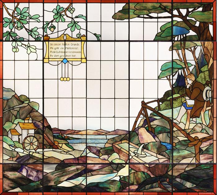 Vitrail, élément d'un décor qui ornait l'intérieur de l'hôtel Jura-Simplon, Eduard Diekmann, 1900 MHL