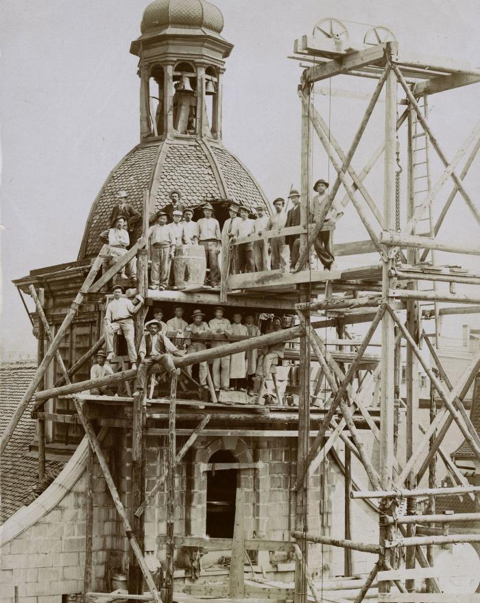 Réfection du clocher de l'église Saint-Laurent, E. Würgler, 1909 MHL