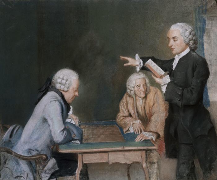 Jean Huber, Autoportrait, pastel, 1773 + La partie d'échec, pastel c. 1770 MHL