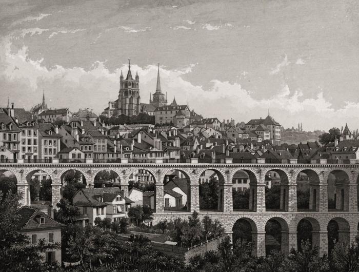 Friedrich von Martens, Le Grand-Pont, estampe, vers 1850 Musée Historique Lausanne