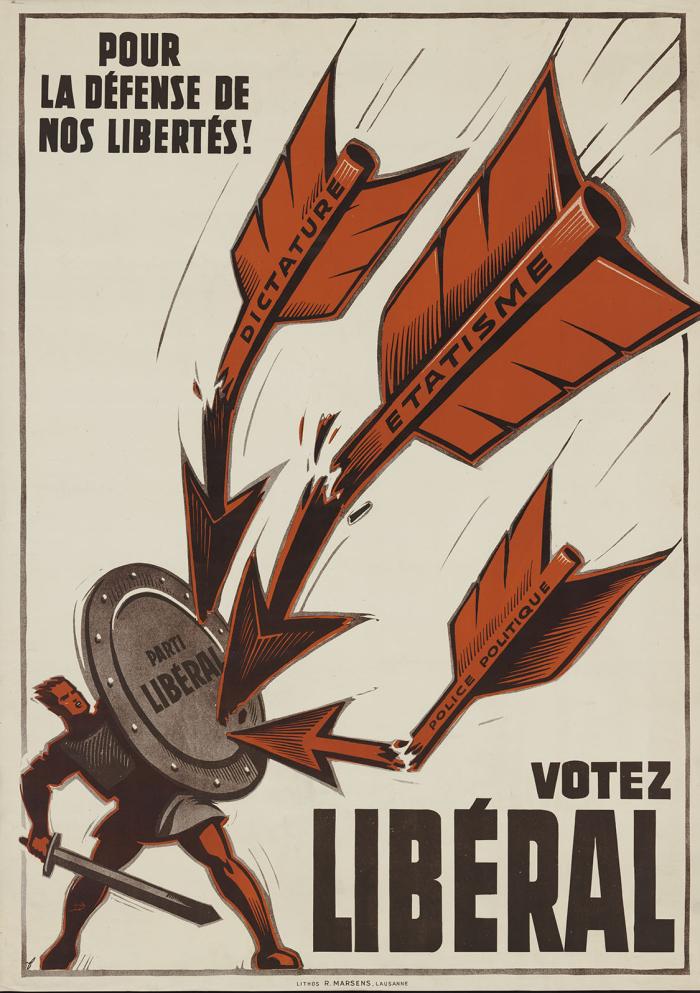 Noël Fontanet, Votez libéral, lithographie couleur, 1940-1950 MHL