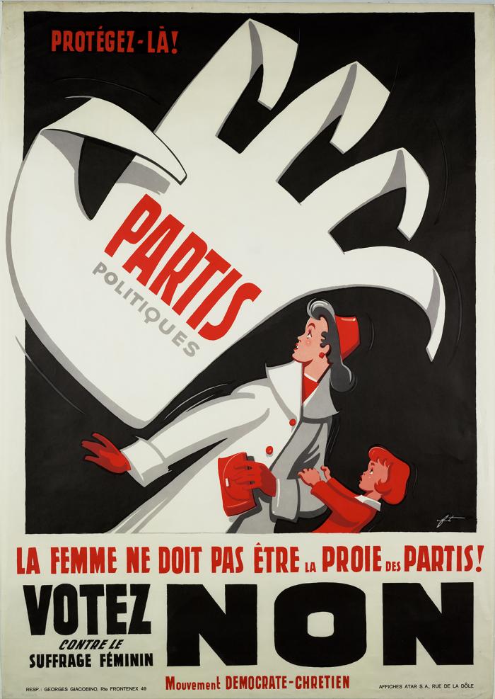 Affiche contre le suffrage féminin, Noël Fontanet, lithographie sur papier, 1951 Musée Historique Lausanne