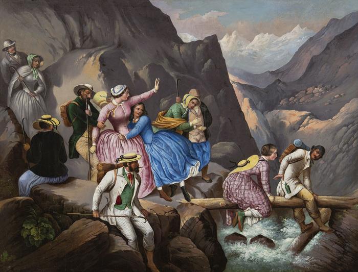 Promeneurs dans la région de la chute de l'Eau noire (Savoie), Johann Konrad Zeller, huile sur toile, vers 1850 Musée national suisse, Zurich