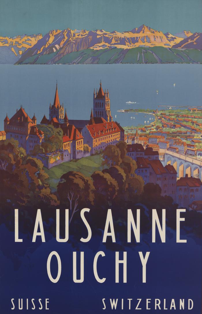 Johann Emil Müller, Lausanne Ouchy, lithographie couleur, 1929 Musée Historique Lausanne