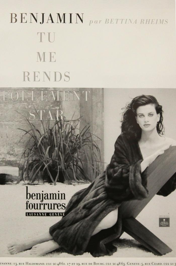 Benjamin fourrures, photographie de Bettina Rheims, offset, imprimerie Marsens, années 1990 Musée Historique Lausanne